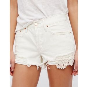 "Free People We The Free ""Worn White"" Jean Shorts"